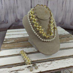 vintage beaded pearls set necklace bracelet clip-o